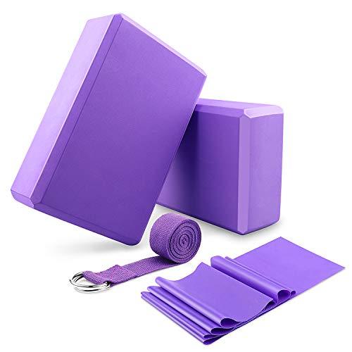 DINAPENTS Yoga Blöcke 2 Pack und Yoga Gurt Set mit Yoga Elastische Widerstandsbänder, Yoga Blöcke Set...