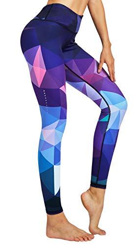 COOLOMG Damen Tights Yoga Hosen Kompression Leggings Sport Trainingshose Lang Diamond Forest L