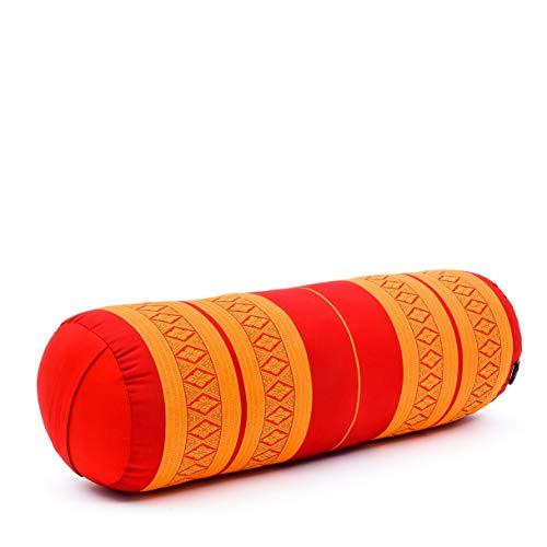 Leewadee Pilatesrolle Yoga Bolster Yogakissen Ökologisches Naturprodukt, 65x25x25 cm, Kapok, orange rot
