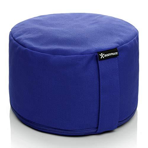 BODYMATE Extra-Hohes Yogakissen rund 31cm Durchmesser 20cm hoch Dunkel-Blau mit Buchweizen-Spelz Füllung – Maschinenwaschbarer Bezug aus 100% extra Dicker Baumwolle – Meditationskissen – Sitzkissen