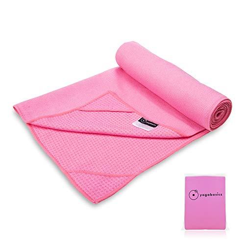 Yogabasics Handtuch für Yogamatte, rutschfest durch Silikonpunkte und Ecktaschen, 183cm x 63cm, Geeignet für...