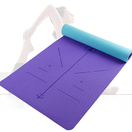 Yogamatte, TPE Yoga Matte Gymnastikmatte Sportmatte Fitnessmatte rutschfest, Turnmatte für Naturkautschuk Yoga Pilates Fitness Sport/Blue+purple
