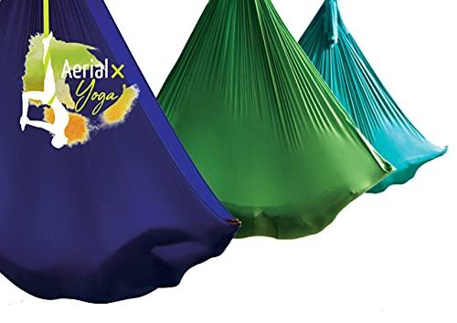 AerialX Aerial Yogatuch - Yoga Basis Set Gold | GS geprüfte Yoga Hängematte für Yoga, Pilates und Gymnastik | Vertikaltuch | Germany