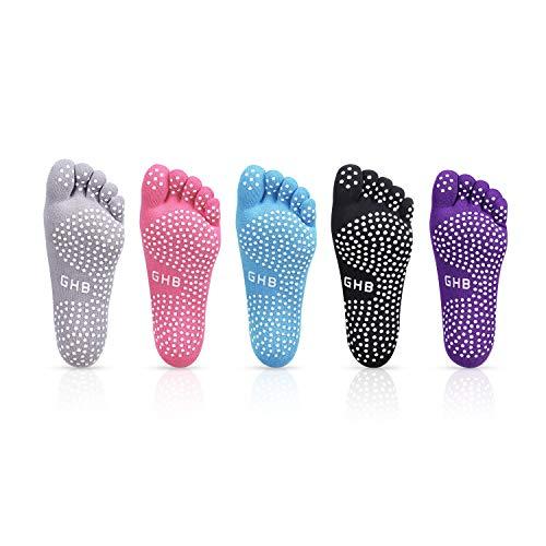 GHB 5PCS Pilates Socken mit Zehen rutschfeste Sportsocken mit Gummisohlen Atmungsaktivität ideal für Yoga Tanz Fitness von Größe 36 bis 40