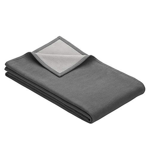 Ibena Stockholm Baumwolldecke 140x200 cm – Kuscheldecke grau hellgrau aus Biobaumwolle, hochwertige Qualität Made in Germany