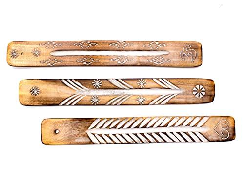 Räucherstäbchenhalter Exklusives 3er Set aus Rosenholz zum Abbrennen von Räucherstäbchen, Räucherstäbchen Halter Zubehör handgefertigt