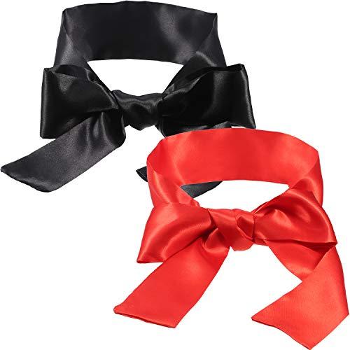Hestya Satin-Schlafmaske, Augenmaske, Schwarz und Rot, Augenbinde, 150 cm, 2 Stück