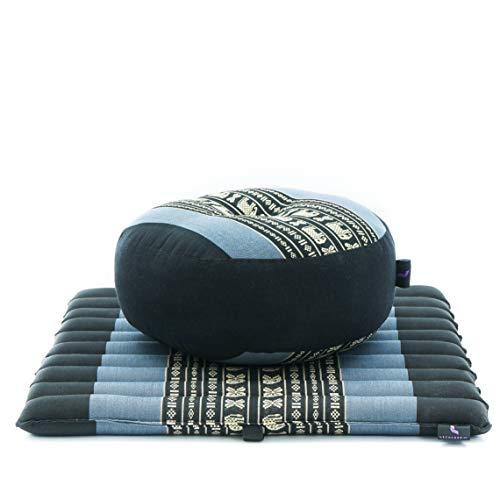 Leewadee Meditationsset Yogaset aus Meditationskissen Zafu und Kleiner rollbarer Sitzmatte Zabuton Ökologisches Naturprodukt, 50x50x18 cm, Kapok, blau