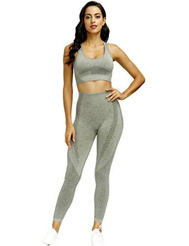 Toplook Nahtloses Yoga-Workout-Set für Damen, 2-teiliges Outfits, Leggings und Sport-BH - Grün - Medium