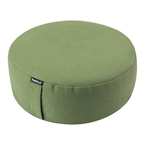 REEHUT Yogakissen Meditationskissen Rund, Yoga Sitzkissen Durchmesser 33cm/Höhe 11,5 cm aus Baumwolle und...