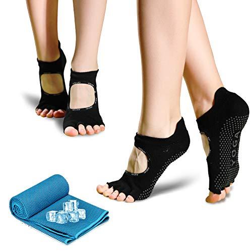 Yoga Socken für Damen, rutschfeste Sportsocken Pilates Socken (2 Paar) mit 1 kühlendes Handtuch...