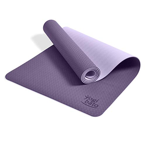 Yogibato Yogamatte Balance – rutschfeste Gymnastikmatte Sportmatte – Matte mit Tragegurt für Gymnastik Pilates Sport & Fitness – Non-Slip TPE Yoga Mat [183x61x0,6 cm] Lavendel-Flieder