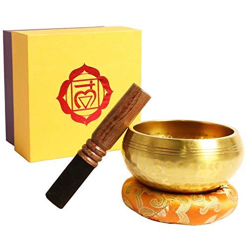 Klangschale, Premium Tibetische Klangschalen Set mit hochwertigem Holz Klöppel und Himalaya Kissen, Perfekt...