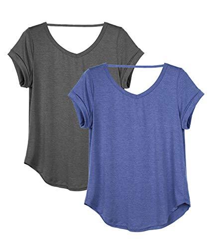 icyzone Damen Rückenfrei Yoga T-Shirt Kurzarm Sport Freizeit Tops Lose lässiges V-Ausschnitt Shirt, 2er Pack...