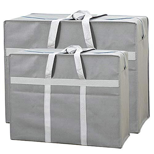 Zliger 2 Stück Faltbare Aufbewahrungstasche,Umzugstasche Large Wiederverwendbare Robuste Tragetasche Jumbo Tasche mit Reißverschluss und Griffe Aufbewahrungstasche Lagerung für Decken Kleidung Kissen