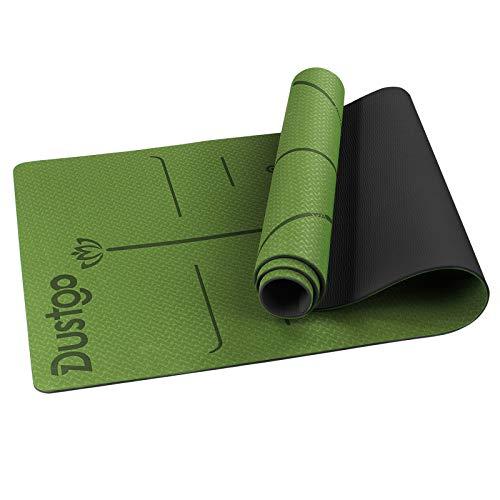 Dustgo Yogamatte Gymnastikmatte,Jogamatte, Yoga Matte rutschfest Jogamatte für Fitness Pilates & Gymnastik mit Tragegurt Maße 183cm Länge 61cm Breite (Grün/Schwarz)