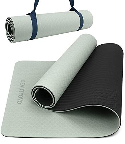 Yogamatte Rutschfest mit Tragegurt, 8mm Extradick Yoga Matte, TPE Schadstofffrei Sportmatte für Zuhause oder...