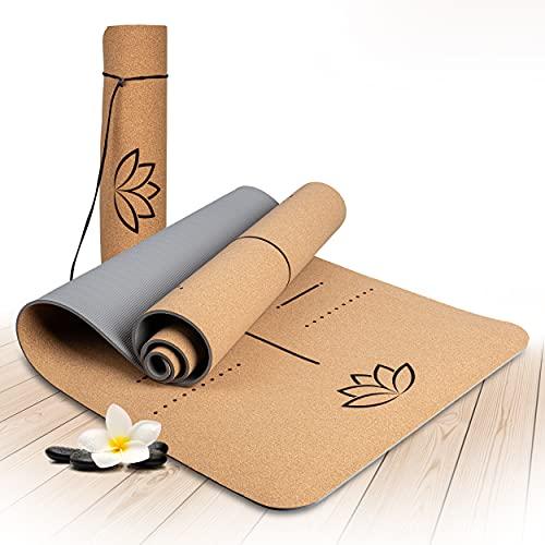 Wellax Yogamatte Kork - 100% natürliche Yogamatte rutschfest [183x66x0,6 cm] - Besonders dick & schadstofffrei - Sportmatte inkl. Tragegurt
