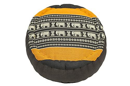 Handelsturm Zafu Meditationskissen mit Füllung aus Kapok 34 x 15 buntes Kissen für Sitzmeditation Lotussitz oder Zen Meditation (Elefanten orange)