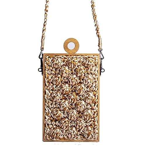 LIUFS Tasche Geldbörse für Damen, große Kartenfächer,Handtasche, einfarbig, Handgemachte kleine Mini-Kreuzkörper-Schulterhandtasche-Stroh-Gewebe-Tasche, vertikaler Strand-gewebter Tasche