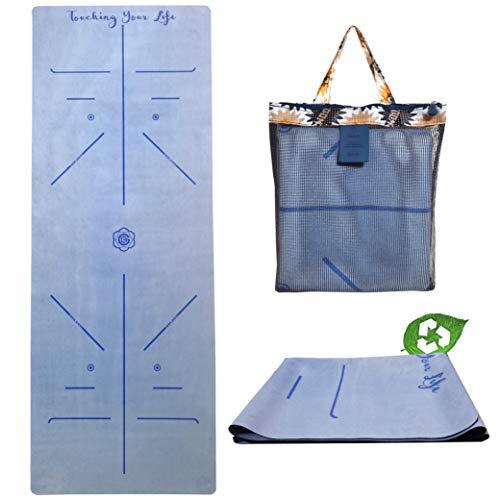 GOLDEN® Yogamatte Reise 1,5mm Naturkautschuk rutschfest schadstofffrei Faltbare dünne Leicht mit Tragetasche, XL 183cm x 68cm (Denim Blau)