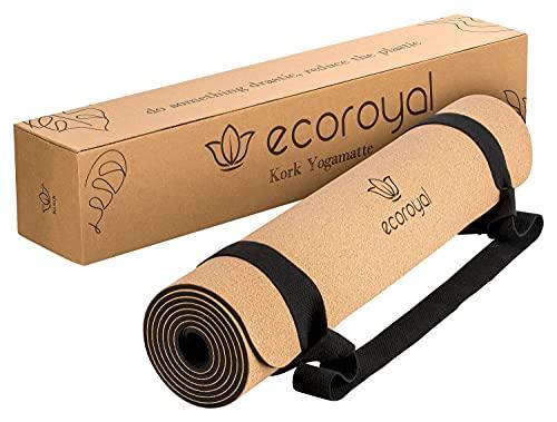 Ecoroyal Yogamatte Kork I Yoga Matte I Korkmatte mit Tragegurt I Nachhaltig & rutschfest I Yoga Mat Cork [183 x 61 x 0,4 cm]