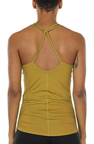 icyzone Damen Sport Yoga Tank Top - Fitness Gym Ärmelloses Shirt Trainings Top (S, Ginger)