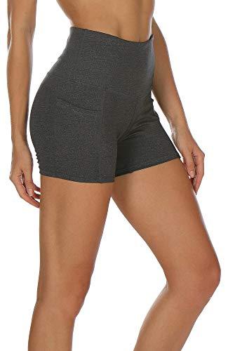 icyzone Damen Tights Shorts Sport Kurze Hosen - Laufshorts Fitness Yoga Leggings (S, Charcoal)