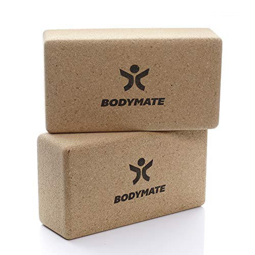 BODYMATE 2er Set Yoga Block aus Kork, Yogablöcke, Korkblock für Yoga, aus 100% ökologischem Kork, Training Support für Yoga, Pilates, Meditation & Entspannung, für Anfänger & Profis, 22 x 12 x 7,5 cm