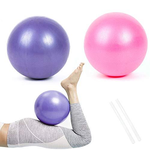Gymnastikball Klein Pilates Ball, 2 Pcs Übung Ball Rutschfester & Superleichter Soft Gymnastikball mit Pumpe, 25cm, Fitness Ball für Yoga, Heim, Büro, Sitzball(Pink und Lila)
