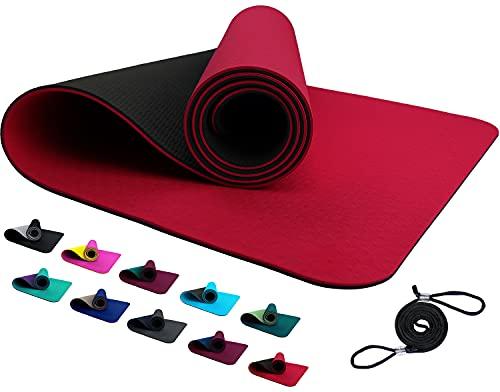 REFIT TPE Sportmatte Fitnessmatte 183 x 61 x 0,6 cm Feuerrot Schwarz rutschfeste Gym Matte Mat für Yoga Fitness Pilates Gymnastik Sport Yogamatte Gymnastikmatte Turnmatte Bodenmatte Rot Red Black