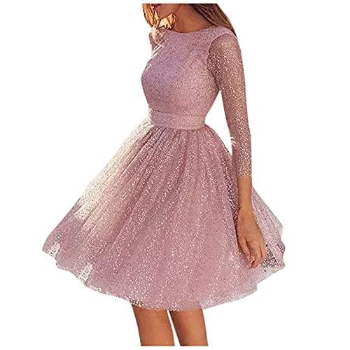 Kleid für Frauen, Frauen Sling Cross Hochzeit O-Neck Elegant Party Abend Slim Rückenfrei Spitzenkleid Cocktail Homecoming formelle Kleider