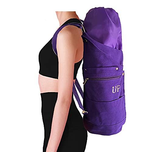 UP GREAT Yogatasche Yoga Rucksack aus Baumwolle Canvas - Tasche für Yogamatte und Zubehör in Kronenchakra Lila