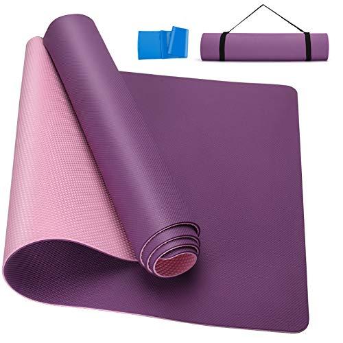 Gaosaili Yogamatte, Classic Pro Fitnessmatte, TPE Umweltfreundlich, rutschfest, leichte Matte mit Tragegurt für Yoga, Meditation, Pilates und Gymnastik, 183 x 61 x 0,6 cm (lila)