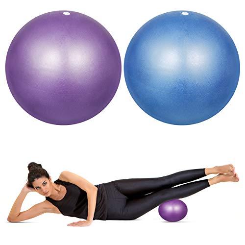 HQdeal 2 Stück 23cm Pilates Ball Klein Rutschfester & Superleichter Soft Gymnastikball, Blau und Lila