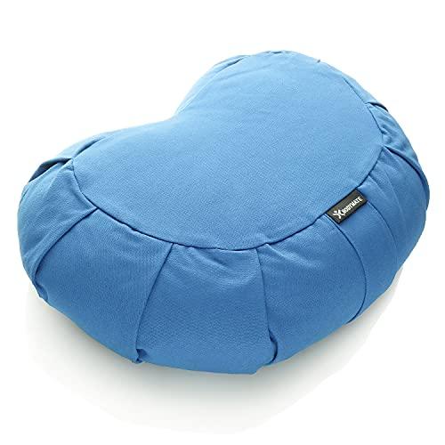 BODYMATE Halbmond Yogakissen 42cm lang 30cm breit und 15cm hoch Hellblau mit Buchweizen-Spelz Füllung – Maschinenwaschbarer Bezug aus 100% extra Dicker Baumwolle – Meditationskissen – Sitzkissen
