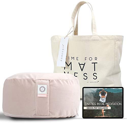 aGreenie Yogakissen aus Samt - rundes Meditationskissen gefüllt mit Buchweizen - Sitzhöhe 15cm - waschbarer Bezug - inkl. Shopper-Tasche & Meditations – Ebook (blushy Peach)
