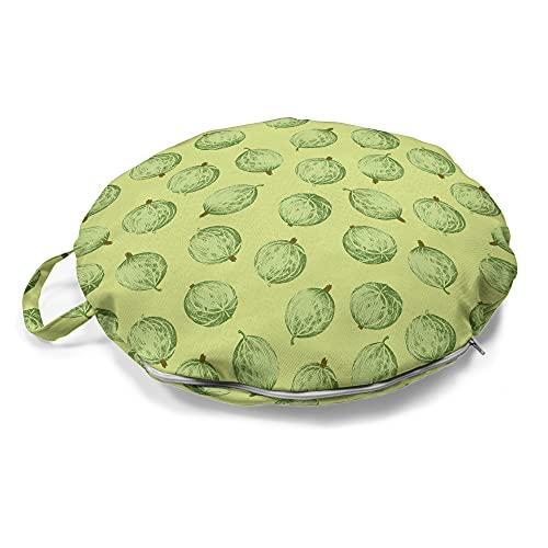 ABAKUHAUS Obst Rundes Bodenkissen mit Griff, Tasty Exotische Stachelbeeren, dekoratives Kissen für Wohnzimmer & Schlafsäle, 45 cm, Grüne resedagrün
