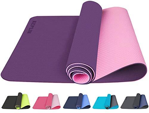 KEPLIN Yogamatte, rutschfeste Fitnessmatte, ideale Trainingsmatte für Yoga, Pilates und Gymnastik, inklusive Tragegurt (lila und rosa)