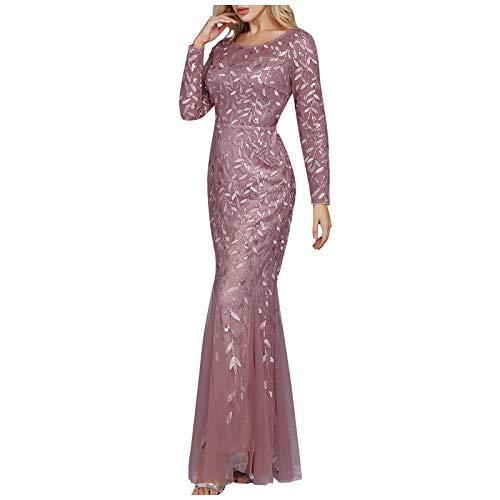 Elegantes Kleid für Damen, langärmelig, Pailletten, Netzstoff, Meerjungfrau, Party, Rundhalsausschnitt, Abendkleid, Cocktailkleid, Heimkehrkleid, Verkauf