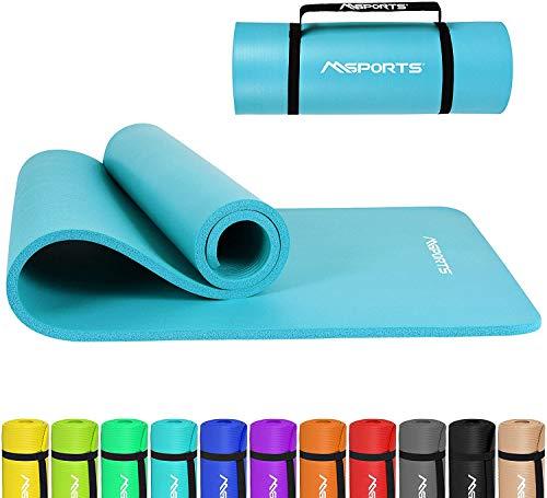 MSPORTS Gymnastikmatte Premium inkl. Tragegurt + Übungsposter + Workout App I Hautfreundliche Fitnessmatte 190 x 80 x 1,5 cm - Aquamarin - Phthalatfreie Yogamatte