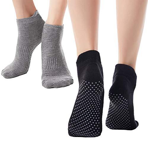 Ofima rutschfest Yoga Socken für Damen 2 Paar, Anti Rutsch Socken für Pilates Tanz Barre Fitness, Full Toe...