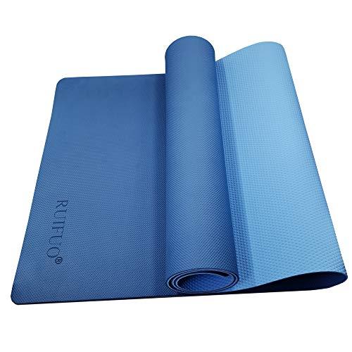 RUIFUO Yoga Mat,Gymnastics Mat,Fitnessmatte,TPE,SGS,Hypoallergenic Sports Mat für Yoga,Pilates,Gymnastics,Doppelseitiges Design,rutschfest mit Tragegurt,183/61/0.6 cm(Blue/Light Blue)