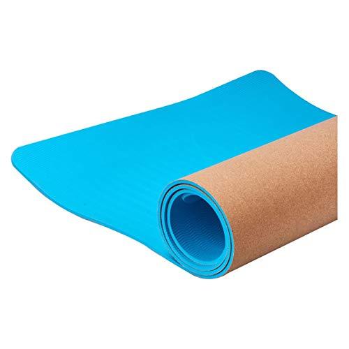 RWEAONT Kork-Yoga-Matte - Natürliche nachhaltige Korken-Resistente Keime 6mm Geruch ungiftiger TPE-Gummi Ideal für Hot Yoga Indoor Fitness (Color : Blue)
