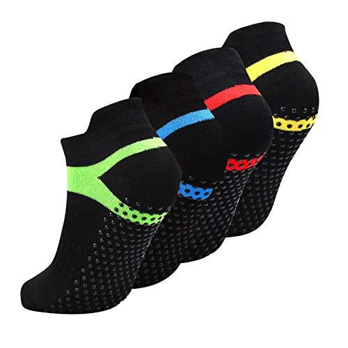 4 Paare Yoga Socken Schwarz Anti Rutsch Größe 35-43, Pilates Socken rutschfest mit Noppen Stoppersocken für...