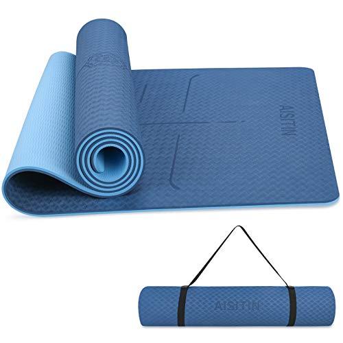 AISITIN Yogamatte Gymnastikmatte rutschfest Blau sportmatte Fitnessmatte aus hochwertigen TPE Übungsmatte für Yoga Pilates Kinderturnen etc mit Tragegurt und Tragetache 183 * 66 * 0.8cm