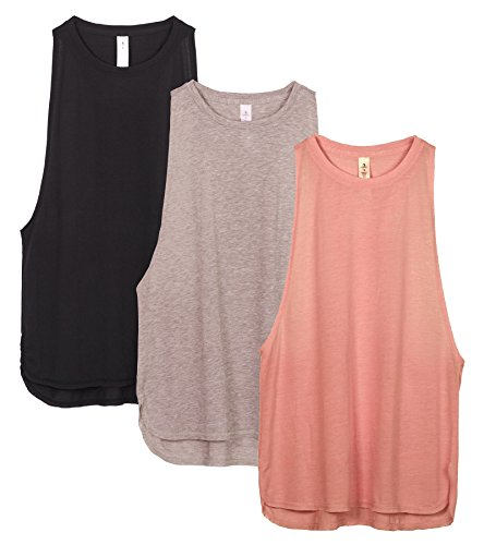 icyzone Damen Sport Tank Top Ringerrücken Yoga Fitness Shirt Loose Fit Sport Oberteile, 3er Pack (L, Black/Beige/Pale Blush)