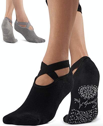 SportyAnis® Premium Yoga-Socken Damen rutschfest für Yoga, Pilates, Tanz und Ballet (2er Pack: Grau &...