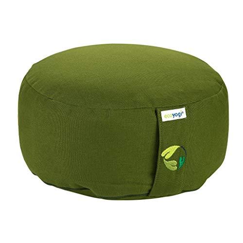 Ecoyogi Meditationskissen - Sitzhöhe 13-15cm - Yogakissen mit buchweizenfüllung - GOTS Zertifiziert - Waschbarer Bezug aus Bio-Baumwolle (Grün)