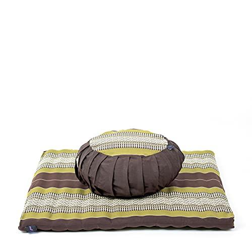 Leewadee Meditationsset Bezug abnehmbar und waschbar Yogaset aus Meditationskissen Zafu und Sitzmatte Zabuton Ökologisches Naturprodukt, 69x78x25 cm, Kapok, braun grün